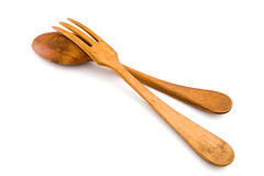 Wooden utensils spoon and fork. Isolated, clipping Royalty Free Stock Photography