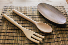 Wooden utensils on the table. For background Stock Photography