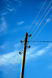 Wooden Utility Pole with Power Lines Royalty Free Stock Photos