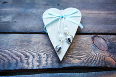 Wooden valentine heart Royalty Free Stock Images