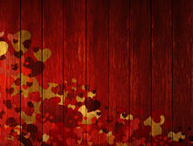 Wooden valentines background with hearts Stock Photography