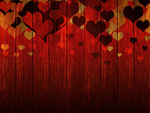 Wooden valentines background with hearts Royalty Free Stock Images