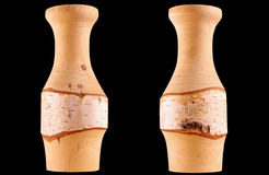 Wooden vase. From birch wood stock photos