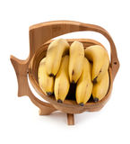 Wooden vase with ligament banana Stock Photos