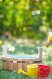 Wooden vat outdoors Stock Images
