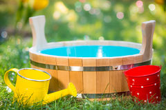 Wooden vat outdoors Stock Photo