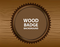 Wooden vector background with wooden badge for text Stock Image