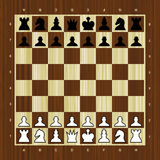 Wooden vector chess board with pieces Stock Image