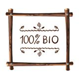Wooden VECTOR Frame, Natural Frame Template with Handwritten Words: 100 bio. Wooden VECTOR Frame On White Background, Natural Frame Template with Handwritten Stock Photos