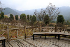 Wooden veranda in the mountain Royalty Free Stock Photography