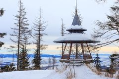 Wooden viewpoint in the popular ski and hiking Hrebienok resort altitude 1285 m.. Hrebienok resort altitude 1285 m. located in the High Tatras mountains Royalty Free Stock Photos