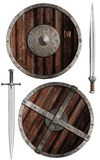 Wooden vikings' shields and swords collection stock photos