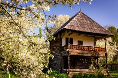 Wooden Village Home In The Countryside Of Romania Stock Photography