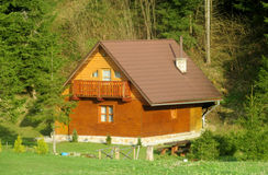 Wooden village house in the forest Stock Images
