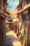 Wooden village pathway. Illustration painting Stock Images