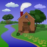 Wooden village sauna on the river bank. Public Wooden village sauna on the river bank Royalty Free Stock Image