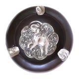 Wooden vintage ashtray on the white background Royalty Free Stock Image