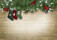 Wooden vintage background with fir branches and Christmas Sock.C Stock Photography