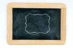 Wooden vintage chalkboard frame isolated on white Stock Photography