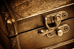 Wooden vintage chest Royalty Free Stock Photo