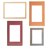 Wooden Vintage frame isolated on white background, mock up. Set. Stock Photos
