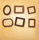 Wooden vintage frames on old wall. Vector illustration Royalty Free Stock Images