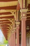 Wooden vintage railway station platform decorative roof. Closeup stock images