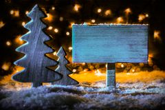 Vintage Wooden Sign, Christmas Tree, Snow, Copy Space royalty free stock image