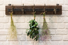 Wooden vintage style Hanger. / Hooks  on white brick wall decorated with dried bouquets in a country style home Royalty Free Stock Photography