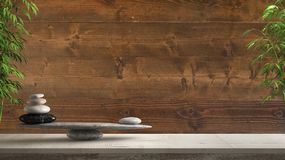 Wooden vintage table or shelf with stone balance, over vintage old wooden wall, feng shui, zen concept architecture interior. Design royalty free stock photos