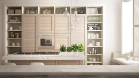 Wooden vintage table top or shelf closeup, zen mood, over modern white kitchen in contemporary luxury apartment with parquet floor stock illustration