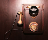 Wooden vintage telephone Stock Photo