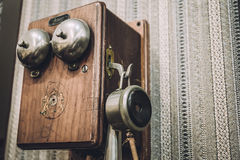 Wooden Vintage Telephone Royalty Free Stock Images