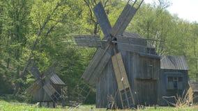 Wooden vintage windmills stock footage