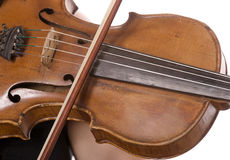 Wooden violin and bow Stock Photography