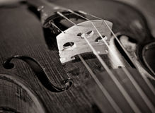Wooden violin bridge Royalty Free Stock Images