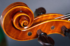 Wooden violin head Royalty Free Stock Photo