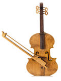 Wooden violin isolated on the white background Stock Photo