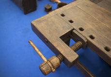 Wooden Vise. Tools: close-up of a wooden vise Stock Photos