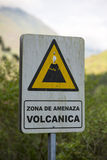 Wooden volcanic signboard Stock Images