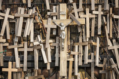 Wooden votive crucifixes Stock Photos
