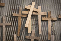 Wooden votive crucifixes Stock Photo