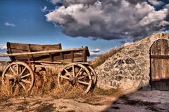 Wooden wagon. Old wooden wagon in the willage, foto was taken in Zaporozie Royalty Free Stock Photo