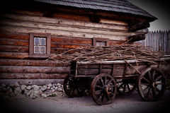 Wooden wagon. Old wooden wagon in the willage, foto was taken in Zaporozie Royalty Free Stock Images