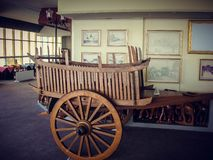 Wooden wagon in cafe, interior decoration. Tourism stock photography