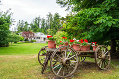 Wooden wagon with flowers. Old wooden wagon with flowers and plants in terracotta pots Royalty Free Stock Photos