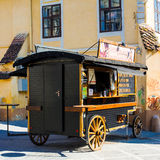 Wooden wagon for selling snacks in Brasov Stock Photo