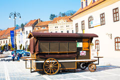 Wooden wagon for selling snacks in Brasov Stock Photography