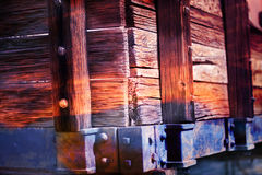 Wooden wagon side in colors Royalty Free Stock Photos