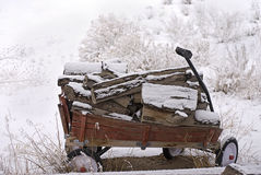 Wooden Wagon in the Snow Royalty Free Stock Image